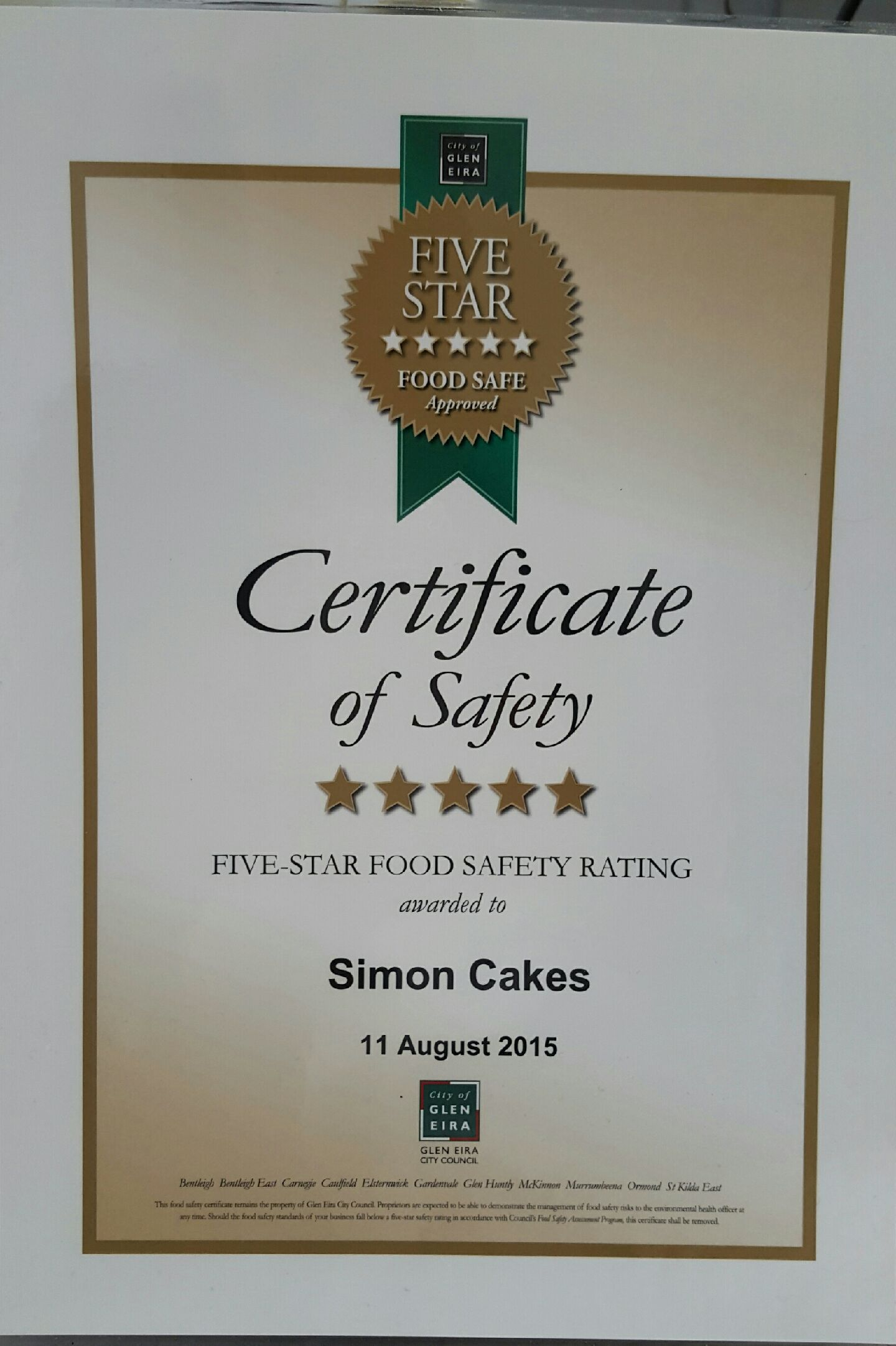 Five Star Certificate