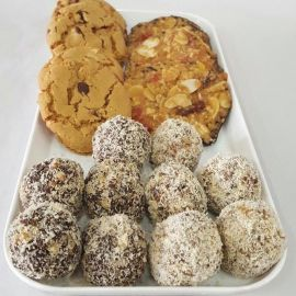 Photo---Passover-Peanut-Butter-Cookies-Bliss-Balls-Cacoa-Balls-and-Florentines